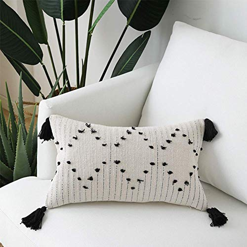 Bigcozy Tassels Boho Throw Pillow Cover - Long Decorative Pillows Hand Woven Moroccan Tribal | Neutral Beige with Black Geometric Pillow Case Pillowcase for Sofa Couch Bedroom Living Room 12x20 Inches (Long Couch Extra Pillows)