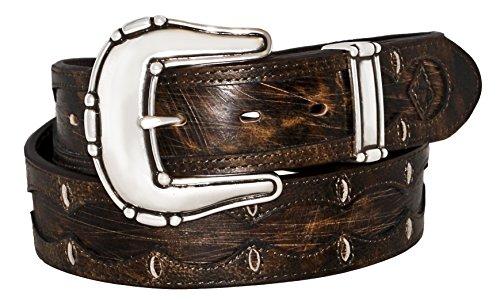 Overlay Buckle - Stetson Men's Scalloped Overlay Belt Brown 38
