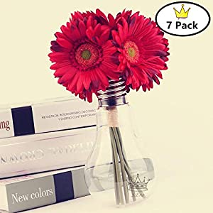 S.Ena, 1 Branch 1 Head Artificial Silk Fake Flowers Gerbera Daisy Wedding Floral Home Decor Bouquet Birthday Party DIY, Pack of 7 (Red) 106
