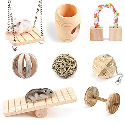 (AUOKER Hamster Chew Toys, Natural Wooden Swing Pine Guinea Pigs Rats Chinchillas Toys Accessories Dumbells Exercise Bell Roller Molar Toy for Birds Bunny Rabbits Gerbils Small Animal, 8 Pcak)