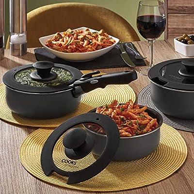 Cooks Professional - Juego de 3 sartenes con mango extraíble y 3 tapas, interior antiadherente, mango resistente al calor de baquelita y apto para horno, apto para todo tipo de cocinas: Amazon.es: Hogar