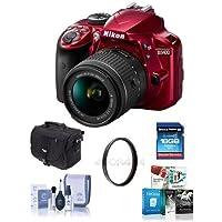 Nikon D3400 DX-Format DSLR Camera Body with AF-P DX NIKKOR 18-55mm F/3.5-5.6G VR Lens, Red - Bundle with 16GB SDHC Card, Camera Bag, 55mm UV Filter, Cleaning Kit, Software Package