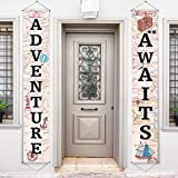 Adventure Awaits Bon Voyage Banner Garland Party Decoration Set Travel Themed Porch Sign Adventure for Indoor/ Outdoor Retirement Moving Relocation Travel Wedding Bachelorette Party Decorations (Khaki