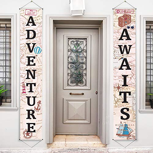 Adventure Awaits Bon Voyage Banner Garland Party Decoration Set Travel Themed Porch Sign Adventure for Indoor/Outdoor Retirement Moving Relocation Travel Wedding Bachelorette Party Decorations