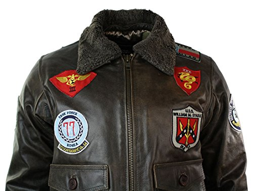 Blouson Homme Et Us Brun Badges Col Fourrure En Avec Véritable Style Bomber Aviateur Airforce Cuir rraBdxF