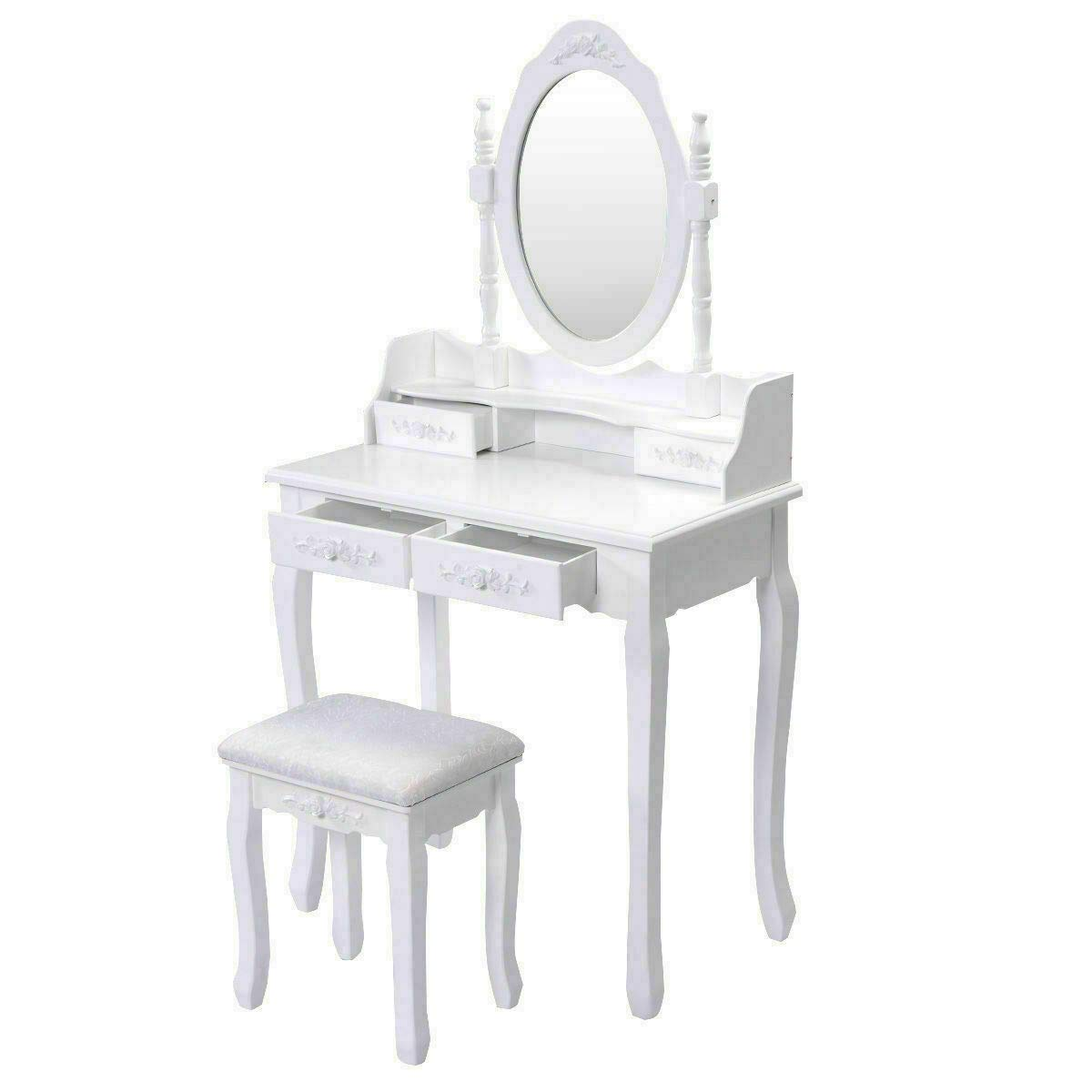Beautiful and Elegantly Design, Glamorous Dressing, White Vanity Makeup Dressing Table Set W/Stool 4 Drawer&Mirror Jewelry Wood Desk