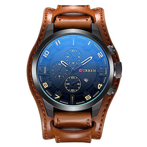 CURREN Original Men's Sports Waterproof Leather Strap Date Wrist Watch Good Quality 8225 Brown Black