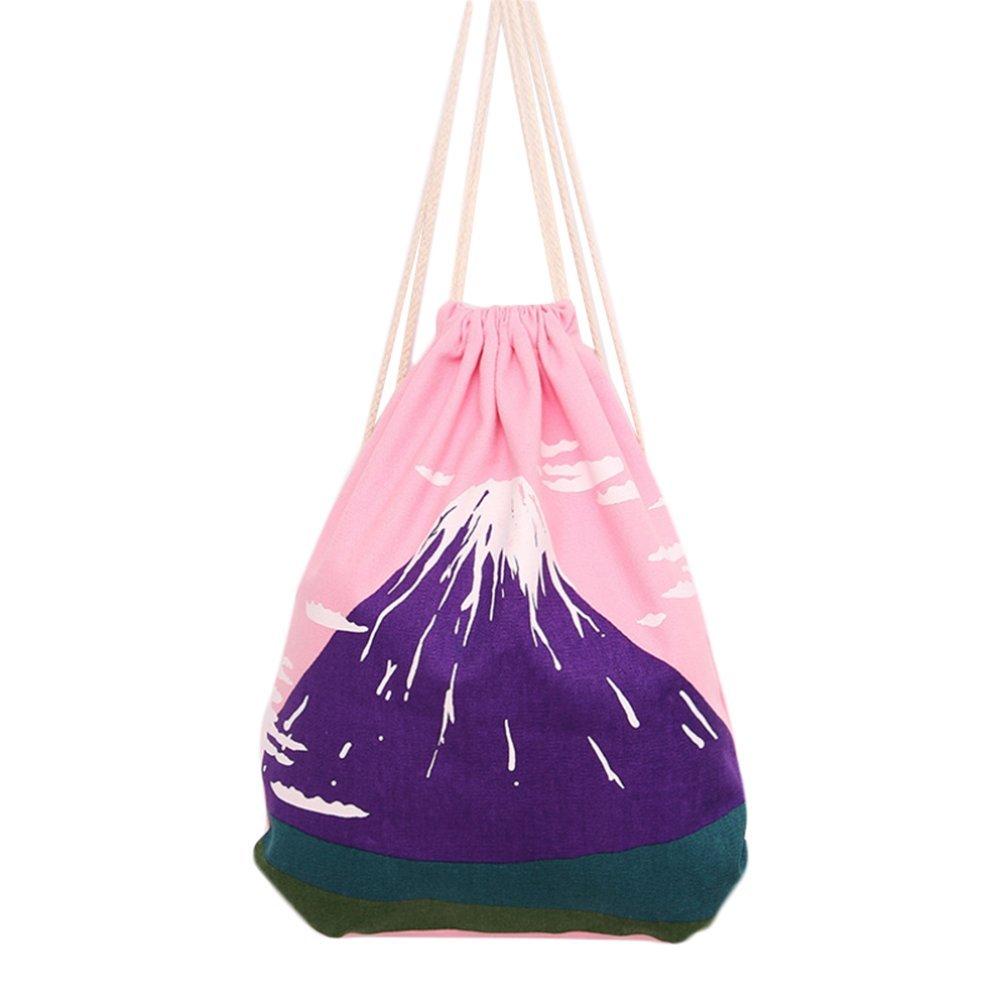 8675247970 iTemer Storage Backpack Fashion Drawstring Bag Canvas Folding Storage  Shoulder Bag School Sport or Travel for Women Kids Teenagers Girls (Blue)   ...