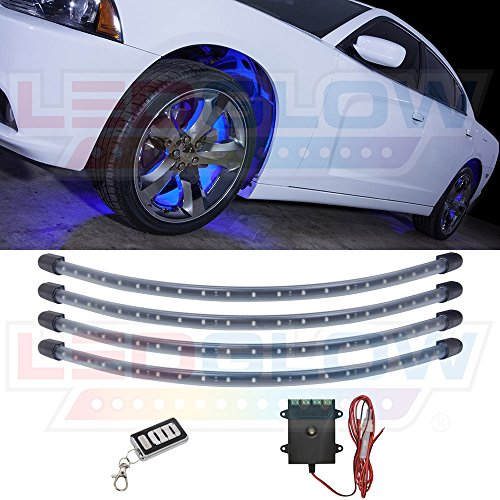 LEDGlow 4pc Blue LED Wheel Well Fender Light Kit - Flexible Water-Resistant Tubes - Includes Wireless Remote