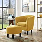 Dazone Modern Accent Chair Upholstered Arm Chair Linen Fabric Single Sofa Barrel Chair with Ottoman Foot Rest Yellow