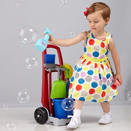 Image: Theo Klein Cleaning Trolley   Child size Cleaning Trolley comes on wheels with bucket, mop, broom, hand broom and pail, sponge, cloth and more