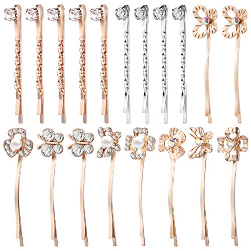 Beaupretty Pearl Bobby Pin Hair Pin Butterfly Flower Cystal Hair Barrettes Rhinestone Hair Clip for Women,19pcs(Mixed Color) ()