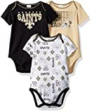 NFL New Orlean Saints Unisex-Baby 3-Pack Short Sleeve Bodysuits, Black, 3-6 Months