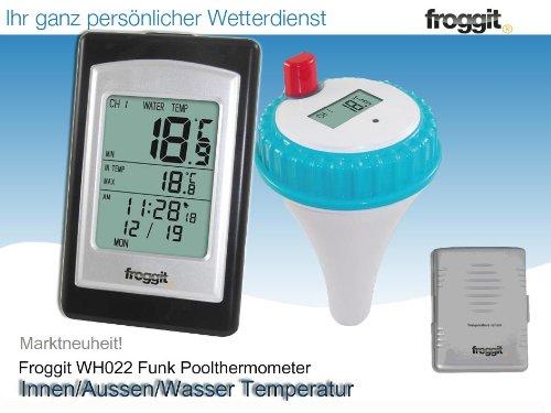 Funk Poolthermometer Froggit WH022 Pool Gartenteich 2 Sensoren Funkthermometer Set Schwimmbecken Pool