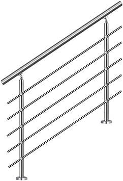 MCTECH® 160 cm Barandilla para barandilla de acero inoxidable para barandilla 5 travesaños para escaleras, balcón, barandilla: Amazon.es: Bricolaje y herramientas