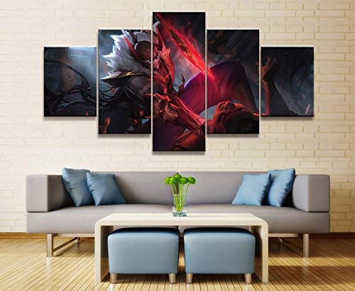 sansiwu 5 Panel League of Legends Scarlet Pyke Game Canvas Printed Painting for Living Room Wall Hd Picture Works Poster