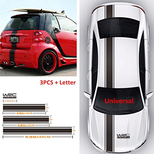 (4Pcs/Pack) Vinyl Racing Stripe Decal Sticker for Car Decoration Hood, Roof, Trunk, Skirt, Bumper (Glossy Black)