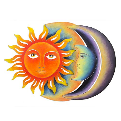 NOVICA Sun And Moon Large Steel Wall Art, Orange and Purple, 'Festive Eclipse'