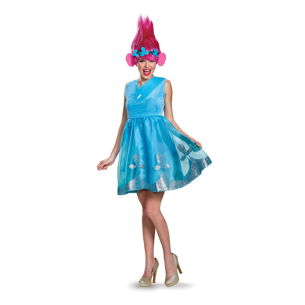 Disguise Women's Poppy Deluxe Adult W/Wig Costume, Blue, Large