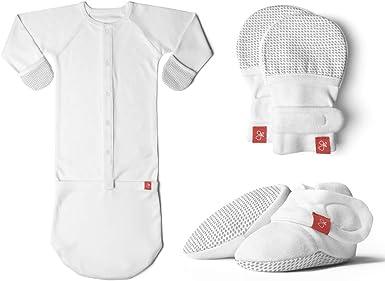 goumikids Conjunto de pijamas de botines y saco de dormir (mitones orgánicos, suaves y ajustables) para bebé-niñas 0-3 Meses Gotas (gris): Amazon.es: Ropa y accesorios