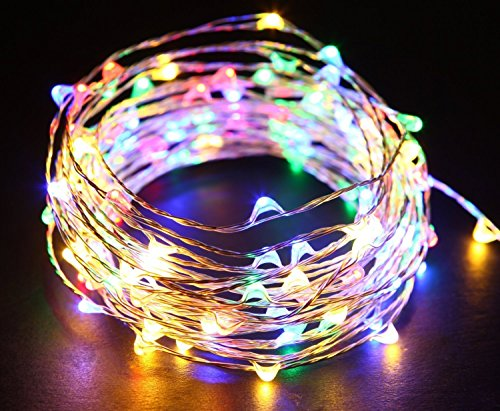 Starry String Lights Multi Color LEDs on a Flexible Silver Copper Wire - LED String Light with 120 Individually Mounted LEDs, 40ft