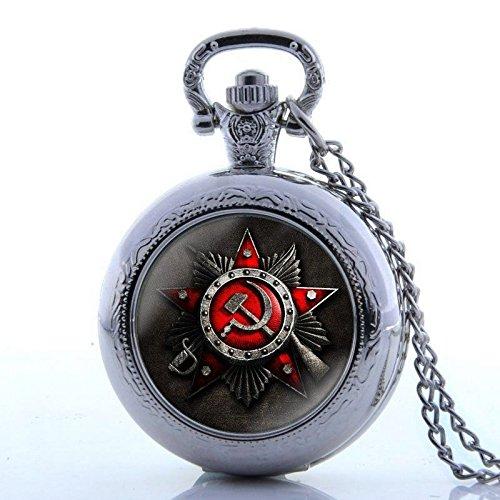 Hunter Quartz Pocket Watch (Ussr Russian Antique Full Hunter Vintage Pocket Watch Necklace Quartz Pendant Chain Gift)