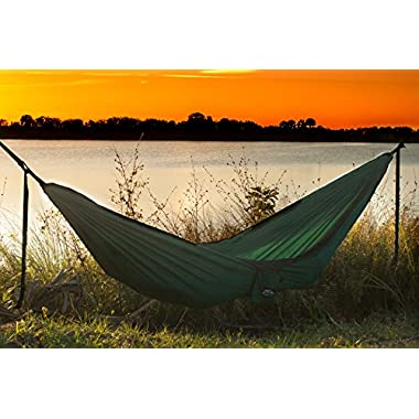 K2 Camp Gear Original Double Camping Hammock - Lightweight Parachute Nylon, Compact, Portable, & Heavy Duty - Best for Outdoor, Hiking, Travel, Backpacking, Backyard - Includes Ropes and Carabiners