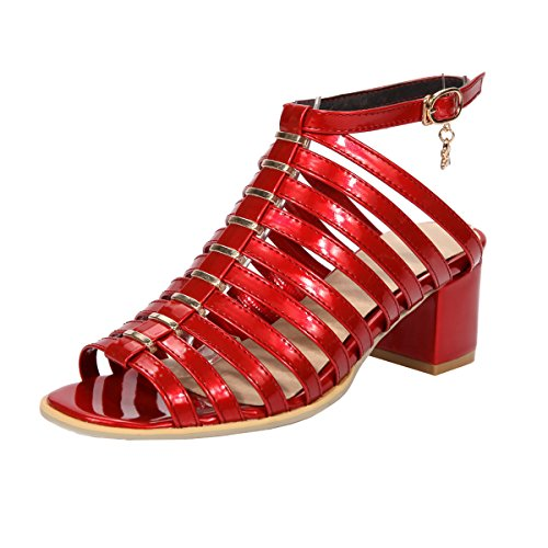 Sandales Elegantes Talons UH Rouge Bout Bride Femmes Moyen Slingback Ouvert Bloc Vernis Cheville à 55v8wq