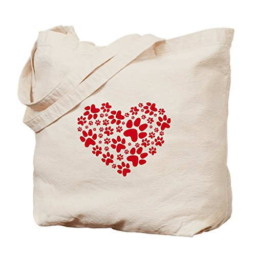 CafePress - Red Heart With Paws, Animal Foodprint Pattern Tote - Natural Canvas Tote Bag, Cloth Shopping Bag ()