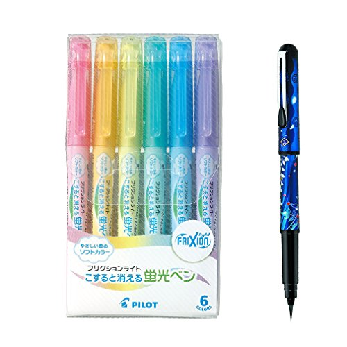 Pilot Highlighter Frixion Light, 6 Soft Color Set + Pentel brush pen - Shinsengumi (Saito Hajime Anime) limited edition, for calligraphy (Color Pentel Set Pen)