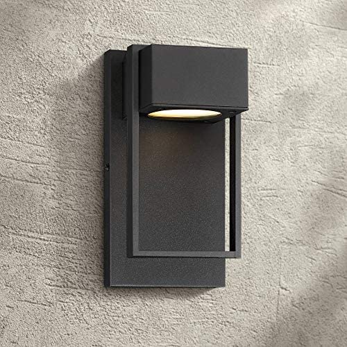 Pavel Modern Outdoor Wall Light Fixture LED Textured Black 9 1/2″ Crystal Diffuser Downlight