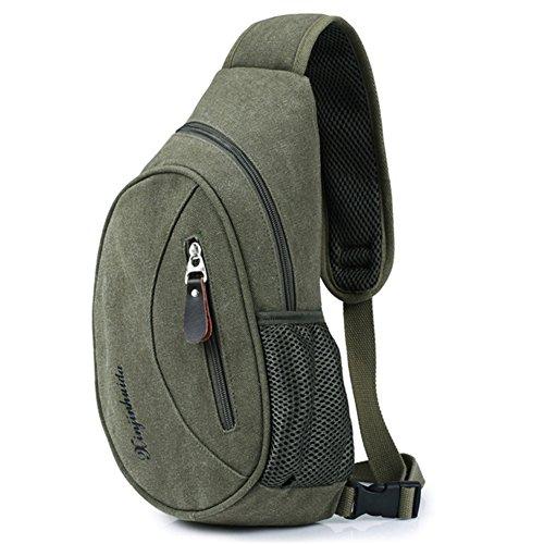 LOFUN - Bolso al hombro de Lona para hombre verde Army Green