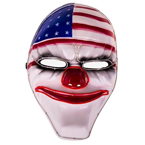 [Cool Led Luminous Payday2 Dallas Mask Heist Clown Mask for Costume Party Halloween] (Clown Halloween Costumes Mask)