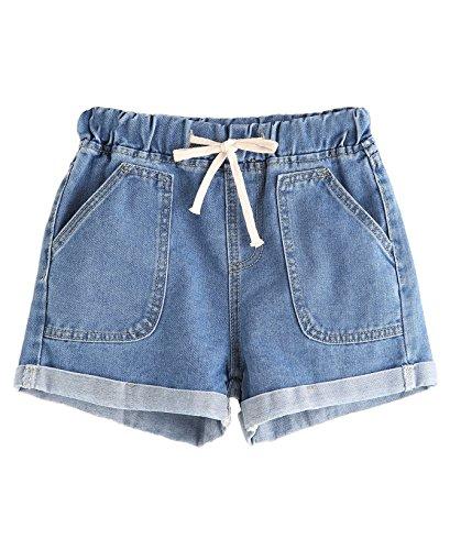 Verdusa Women's Drawstring Waist Roll up Hem Denim Shorts Blue-1 (Low Rise Striped Shorts)