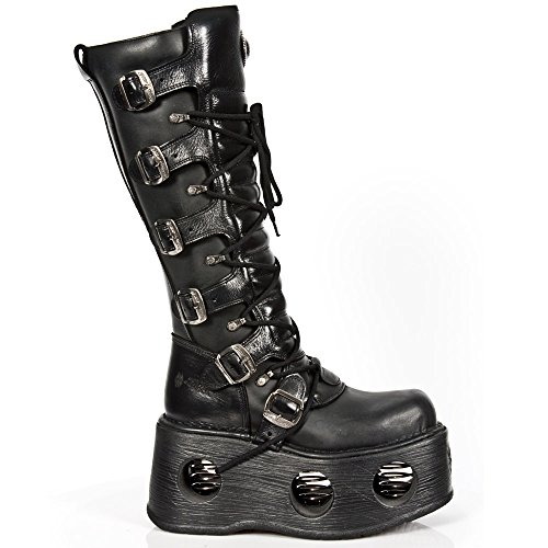 New Rock Pelle M Black Metallic Black Stivali nero 272 S2 rPwrdqxnUA