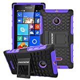 Lumia 435 Case, Pasonomi® Heavy Duty Hybrid Armor Case Cover with Soft Inner Skin and Kickstand For Microsoft Nokia Lumia 435 (Armor Series Purple)