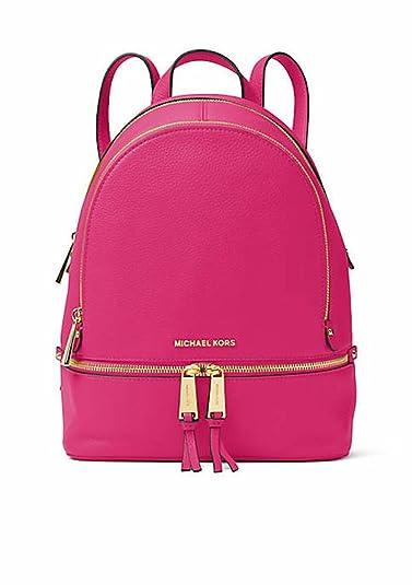 66b77d1d968b Michael Kors Rhea Zip Medium Leather Backpack (Ultra Pink): Amazon ...