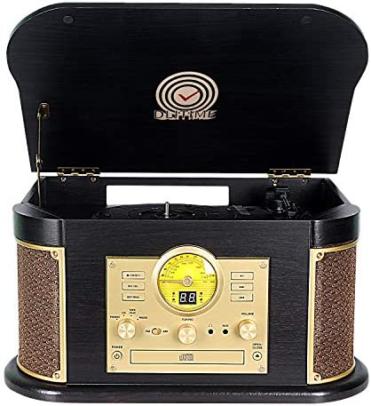 Cassette Record Player,Phonographs DLITIME 3-Speed Vinyl Turntable Built-in 2 Bluetooth Speakers, Headphone Jack Aux In RCA LED USB MP3 CD FM AM Radio Player