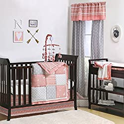 Coral Woodland and Geometric Patchwork 4 Piece Crib Bedding for girls by The Peanut Shell