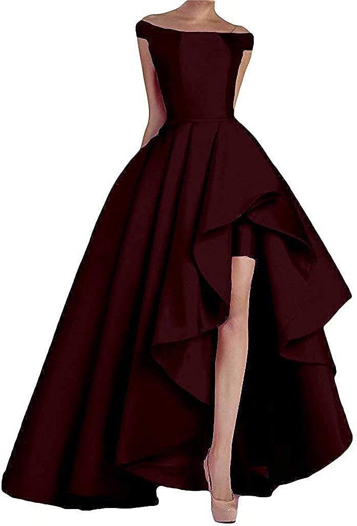 NaXY Abendkleider Lang Elegant Ab-Schulter High-Low Prinzessin Liebsten Asymmetrische Satin Ballkleider Lang Prinzessin Partykleid