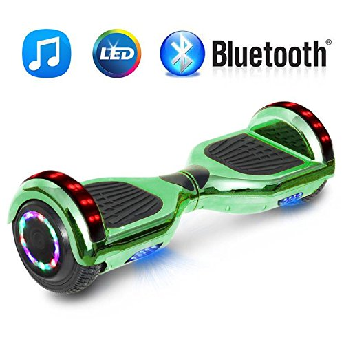 NHT 6.5″ Chrome Hoverboard Electric Smart Self Balancing Scooter with Bluetooth Speaker & Sidelights – UL2272 Certified, Chrome Black, Chrome Blue, Chrome Gold, Chrome Purple (Chrome Green)