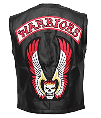 """Skull Emroidered Mens Gang Warrior Style Real Leather HQ Vest In Black (L - To Fit Chest 42-44"""")"""