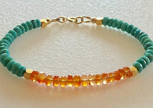 Turquoise Fire Opal Bracelet, Sleeping Beauty Turquoise, Mexican Fire Opal, Gemstone Beaded Bracelet, 24K Gold Vermeil, Gold Fill, Sterling Silver, Birthstone