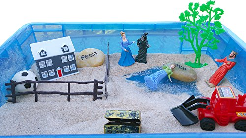 EZ Sand Tray Therapy Professional Starter Kit Play Therapy includes Professional Sand and 100+ miniatures (with FREE First Session Script of exactly what to say when introducing Sandtray to clients)