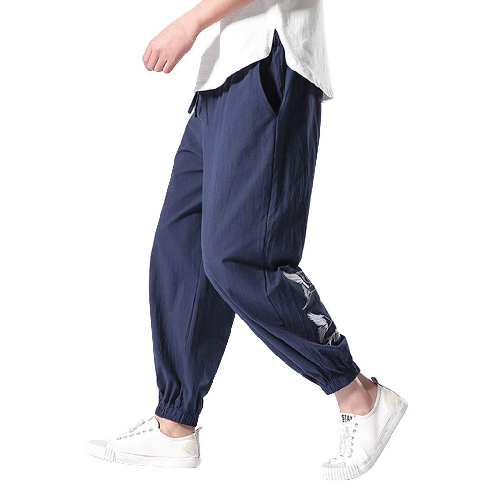 Allywit Men's Summer Linen Cool Prints Baggy Wide-Legged Pants Fashion Comfortable Pant Plus Size Navy