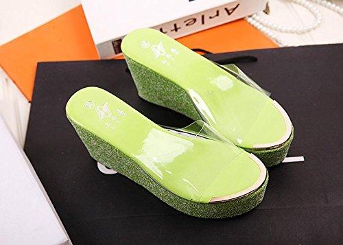 LvYuan Pantuflas del verano de las mujeres / manera ocasional de la comodidad / talón de cuña / parte inferior gruesa / plataforma impermeable / alto talón / sandalias Green
