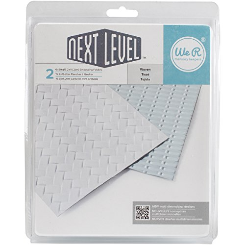 - American Crafts Next Level Woven Embossing Folder 2-Pack by We R Memory Keepers | Includes Two 6 x 6-inch Embossing folders in Different Woven Patterns