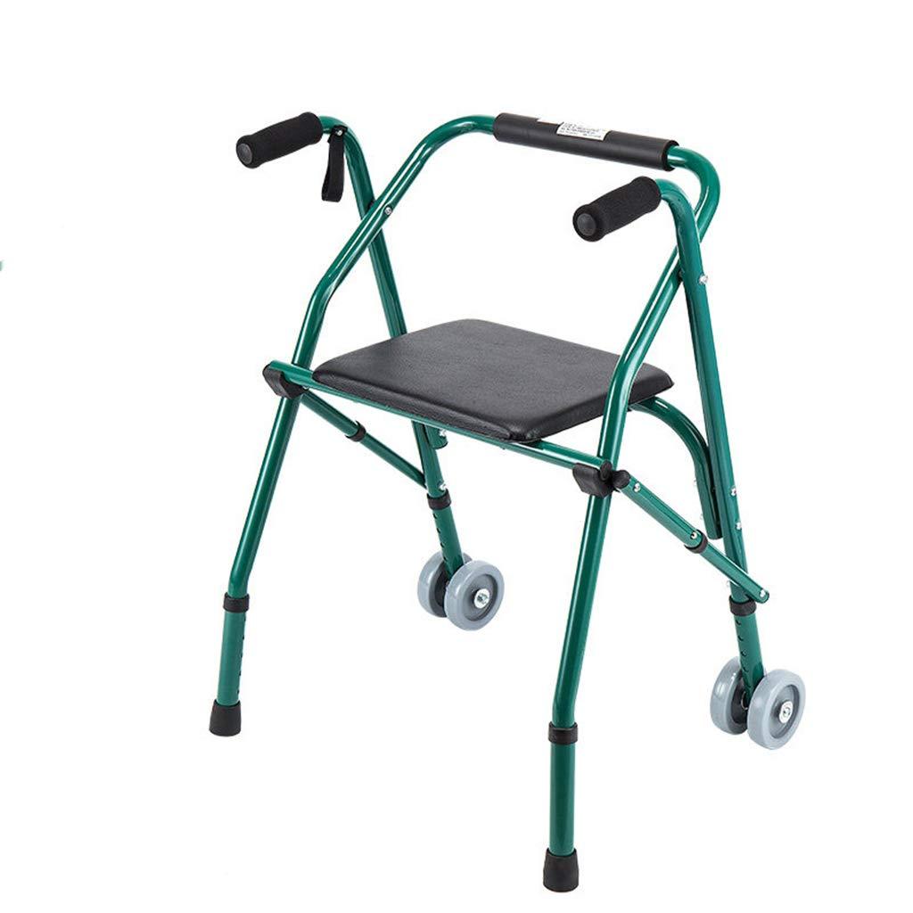 SXD シートプレート付き高齢者用折りたたみ式歩行器、高齢者用アルミニウム四脚杖、ストロークリハビリテーション歩行器、歩行器(緑)   B07TCTJZVS
