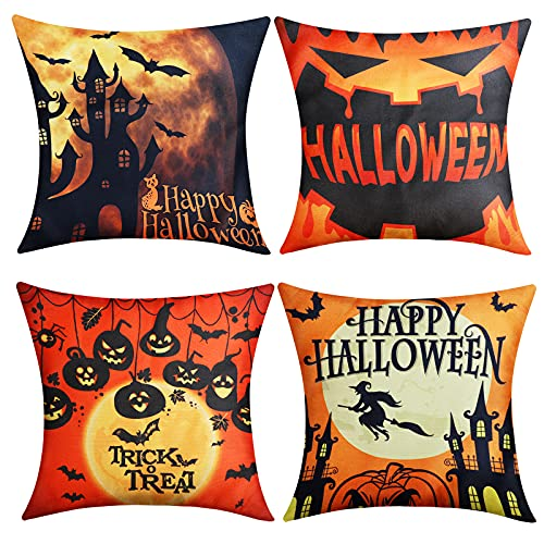 yuboo Castle Pumpkin Raven Halloween Pillow Covers Set of 4, 18x18 Inch Burlap Decorative Cushion Cases for Sofa Couch Halloween Decorations