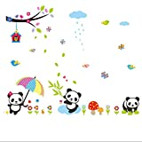 great bamboo wall decals  Lovely Panda Birds flowers and Bamboo Wall Stickers Removable Wall Vinly Decal Decor for Girls and Boys Nursery Room Children's Bedroom